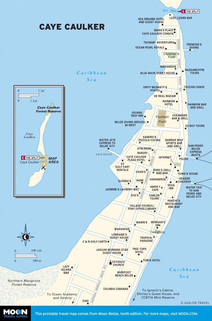 Printable Travel Maps Of Belize | Amérique Centrale Et Mexique - Printable Map Of Belize