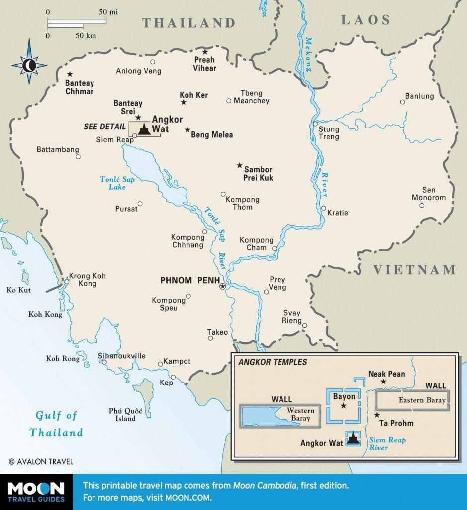 Printable Travel Maps Of Cambodia In 2019 | Cambodia | Cambodia - Printable Map Of Cambodia