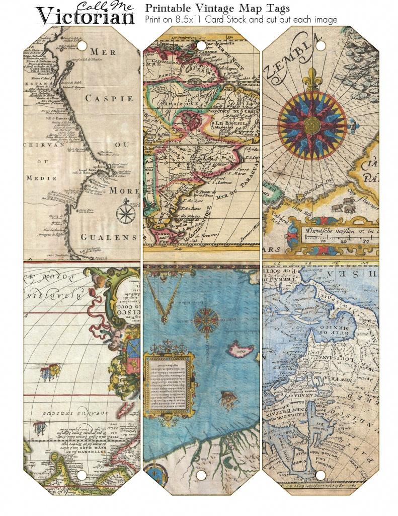 Printable Vintage Map Tags   Call Me Victorian - Free Printable Vintage Maps