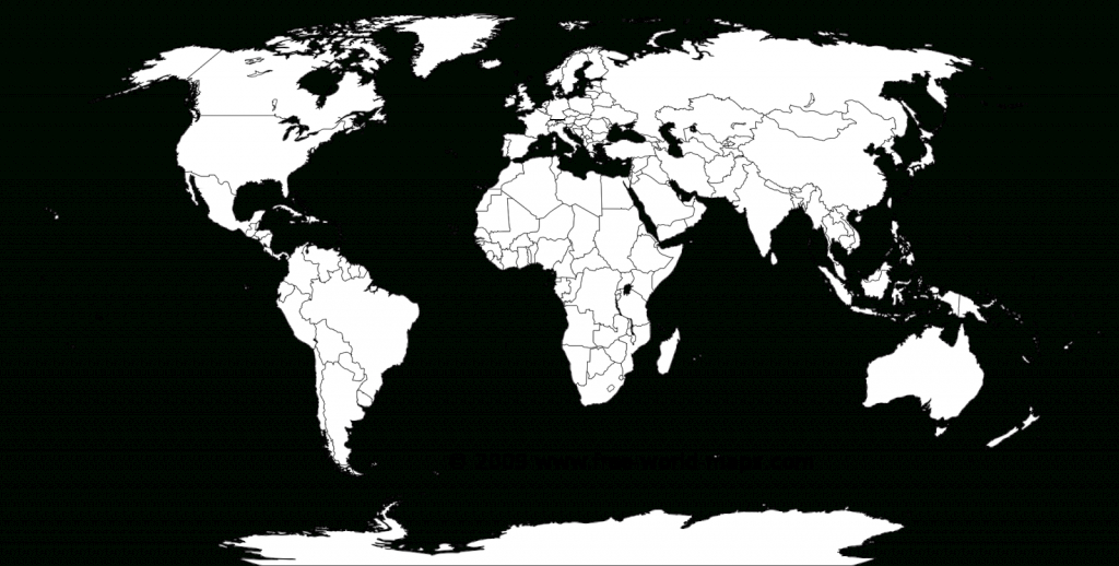 Printable White-Transparent Political Blank World Map C3 | Free - Blank Physical World Map Printable