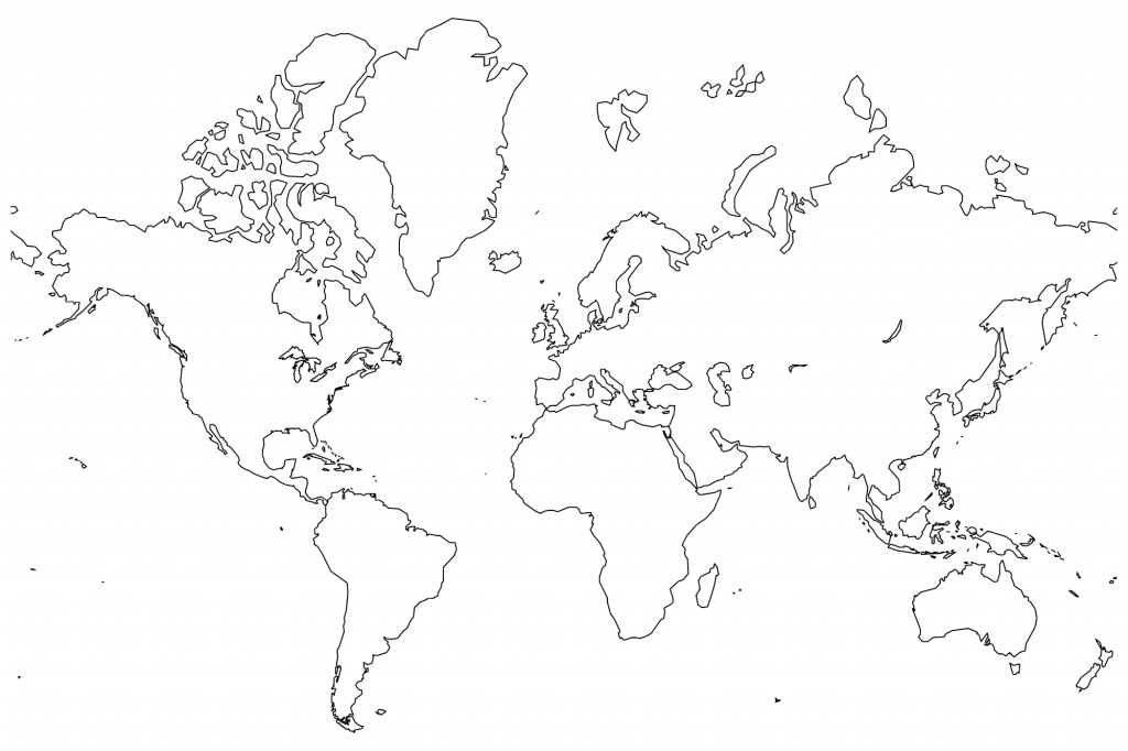 Printable World Maps In Black And White And Travel Information - World Map Black And White Printable