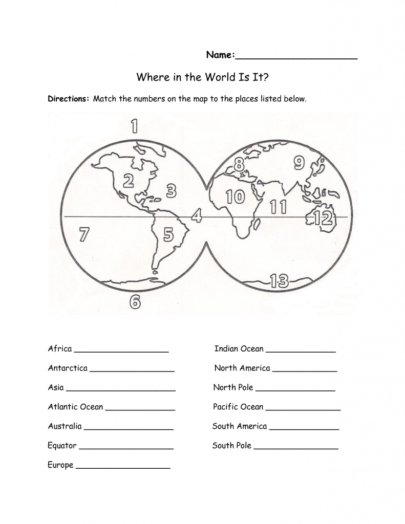 Printables Continents And Oceans Of The World Worksheet | Education - Printable Map Worksheets