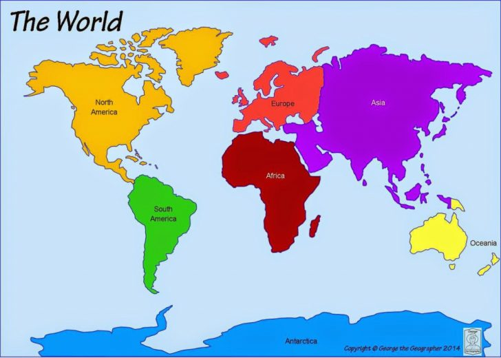 Printable Map Of Continents