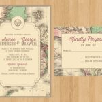 Printed Or Printable Pdf Vintage Map Invitation And Rsvp | World Traveler |  Rustic Wedding, Bridal Shower, Birthday, Rehearsal Dinner   Printable Maps For Wedding Invitations Free
