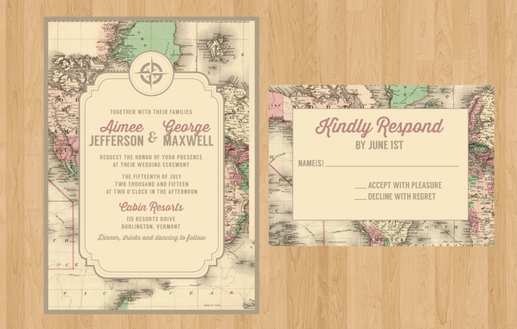 Printed Or Printable Pdf Vintage Map Invitation And Rsvp | World Traveler |  Rustic Wedding, Bridal Shower, Birthday, Rehearsal Dinner - Printable Maps For Wedding Invitations Free