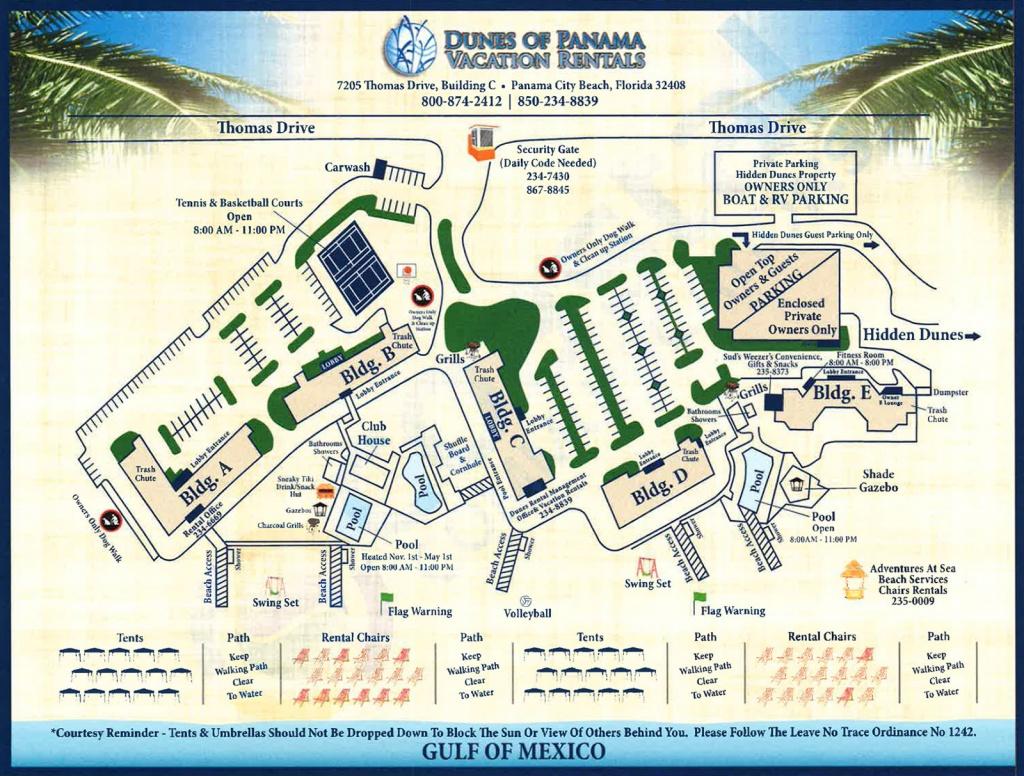 Property Map For Vacation Beach Condos | Dunes Of Panama - Map Of Panama City Beach Florida
