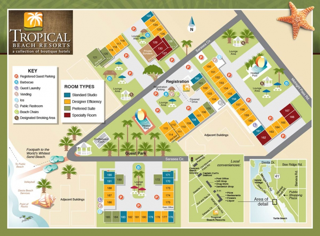 Property Map - Tropical Beach Resorts, Siesta Key Fl - Siesta Beach Sarasota Florida Map