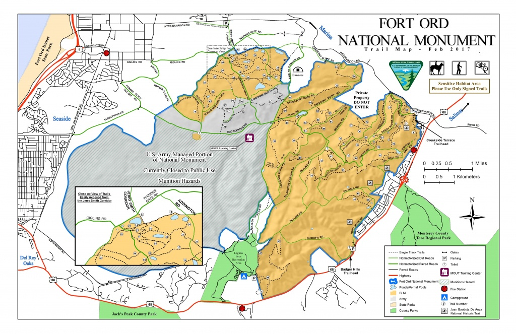 Public Room: California: Fort Ord National Monument Trail Map - Blm Land Map California