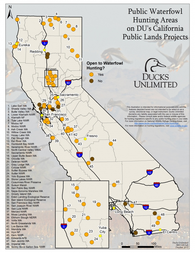 Public Waterfowl Hunting Areas On Du Public Lands Projects - Map Of Hunting Zones In California