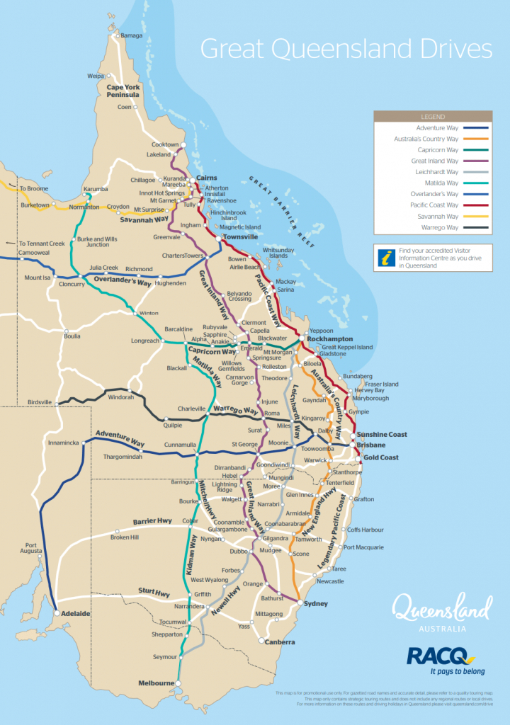 Queensland Drive Maps | Outback Queensland - Printable Map Of Queensland