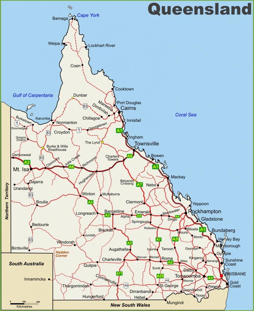 Queensland Highway Map - Printable Map Of Queensland