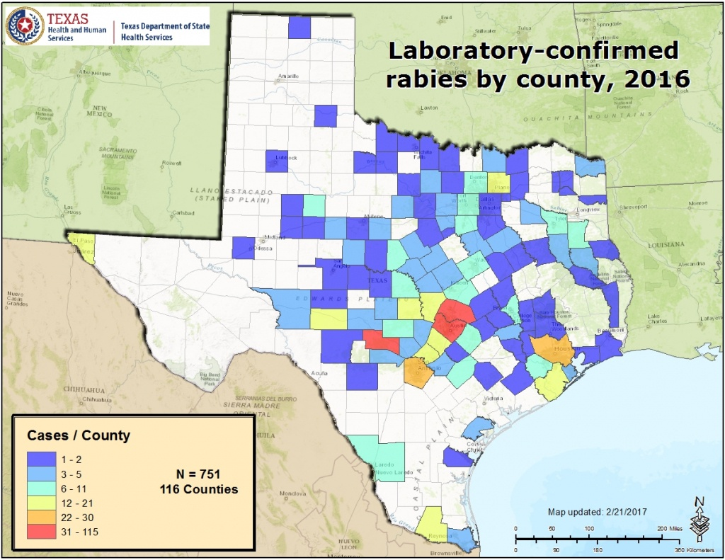 Rabies Maps For 2016 - Mountain Lions In Texas Map