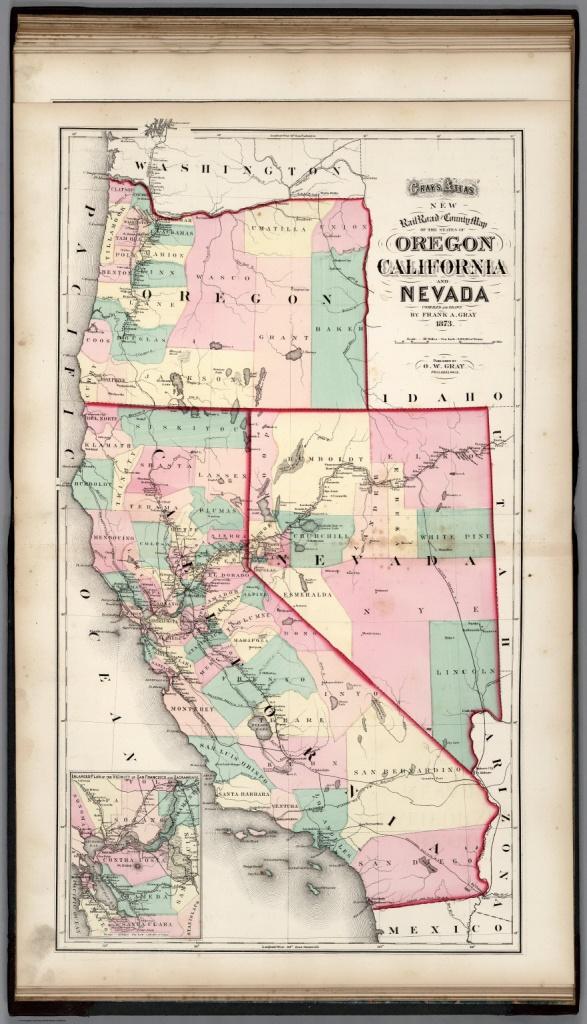 Railroad And County Map Of Oregon, California, And Nevada. - David - Map Of Oregon And California