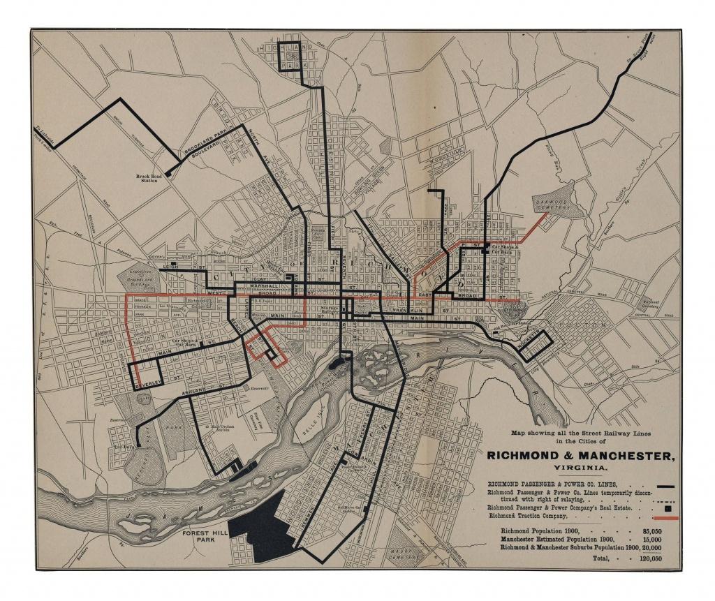 Railway Lines Of Richmond-1900 In 2019   Maps   Virginia, Map, Line - Printable Map Of Richmond Va