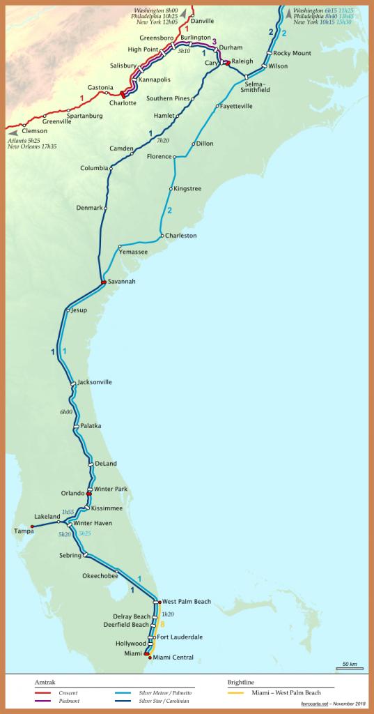 Railway Maps Of The United States | Carolinas And Florida - Florida Brightline Map