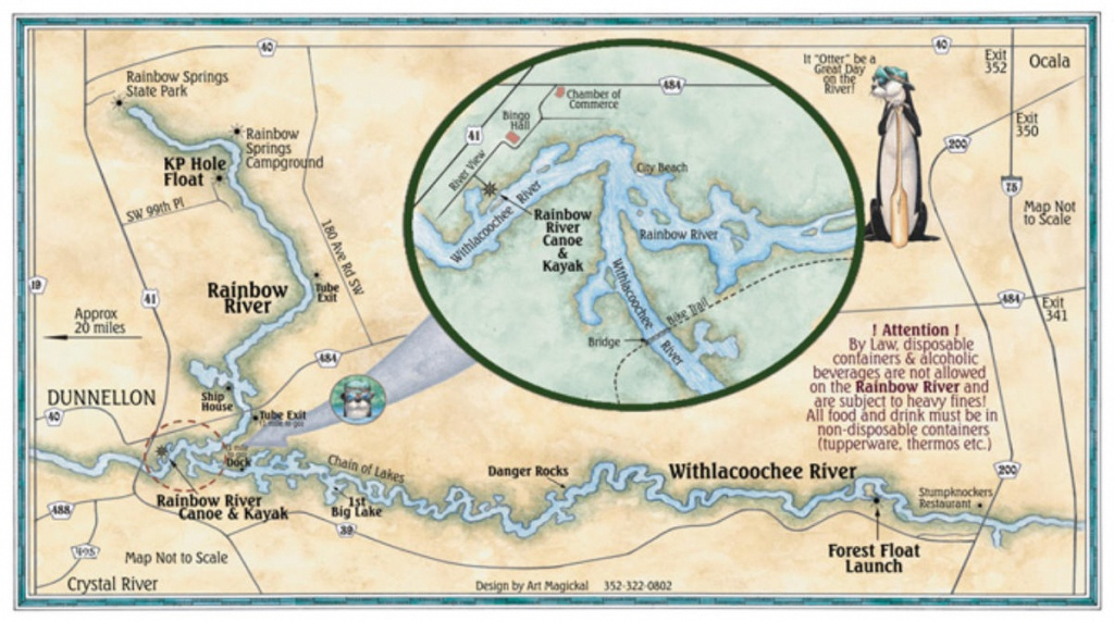 Rainbow River Map Rainbow Springs Map Withlacoochee River Map - Springs Map Florida