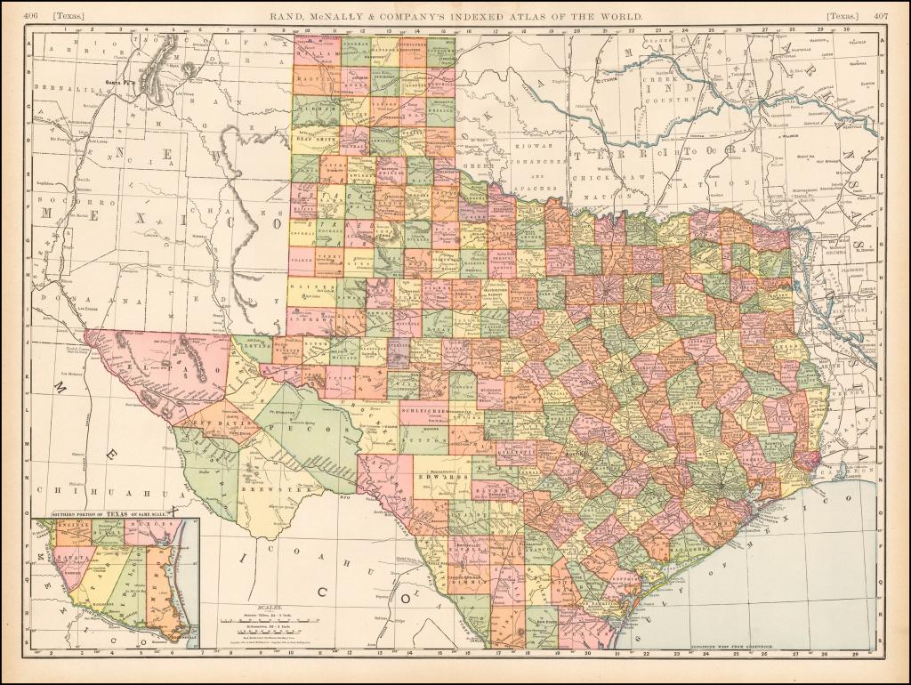 Rand Mcnally & Company's Indexed Atlas Of The World Map Of Texas - Rand Mcnally Texas Road Map