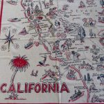 Rare 1940S Vintage California State Map Tablecloth, California   Vintage California Map Tablecloth