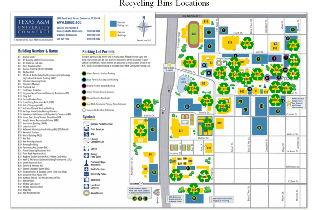 Recycle Bins - Texas A&m University-Commerce - Texas A&m Housing Map