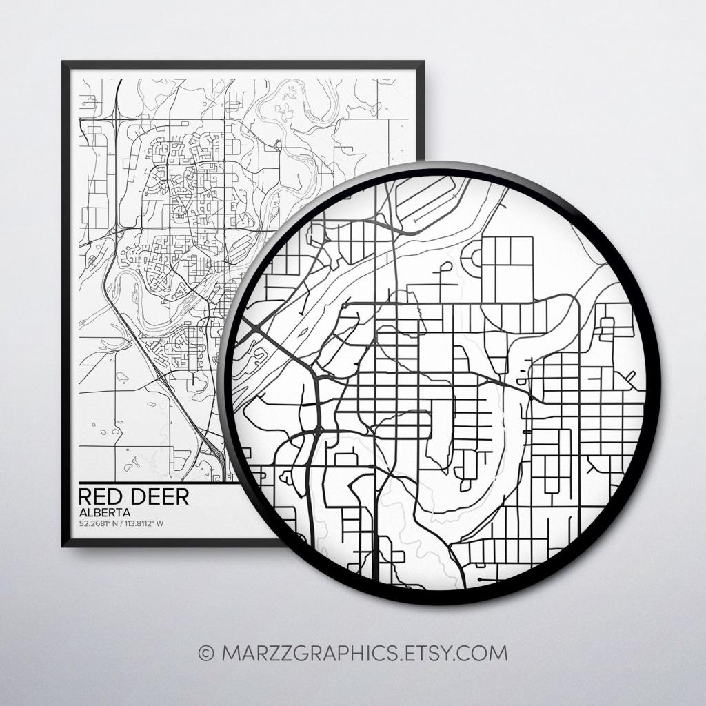Red Deer Map Poster Print Wall Art, Alberta Gift Printable Download - Printable Red Deer Map