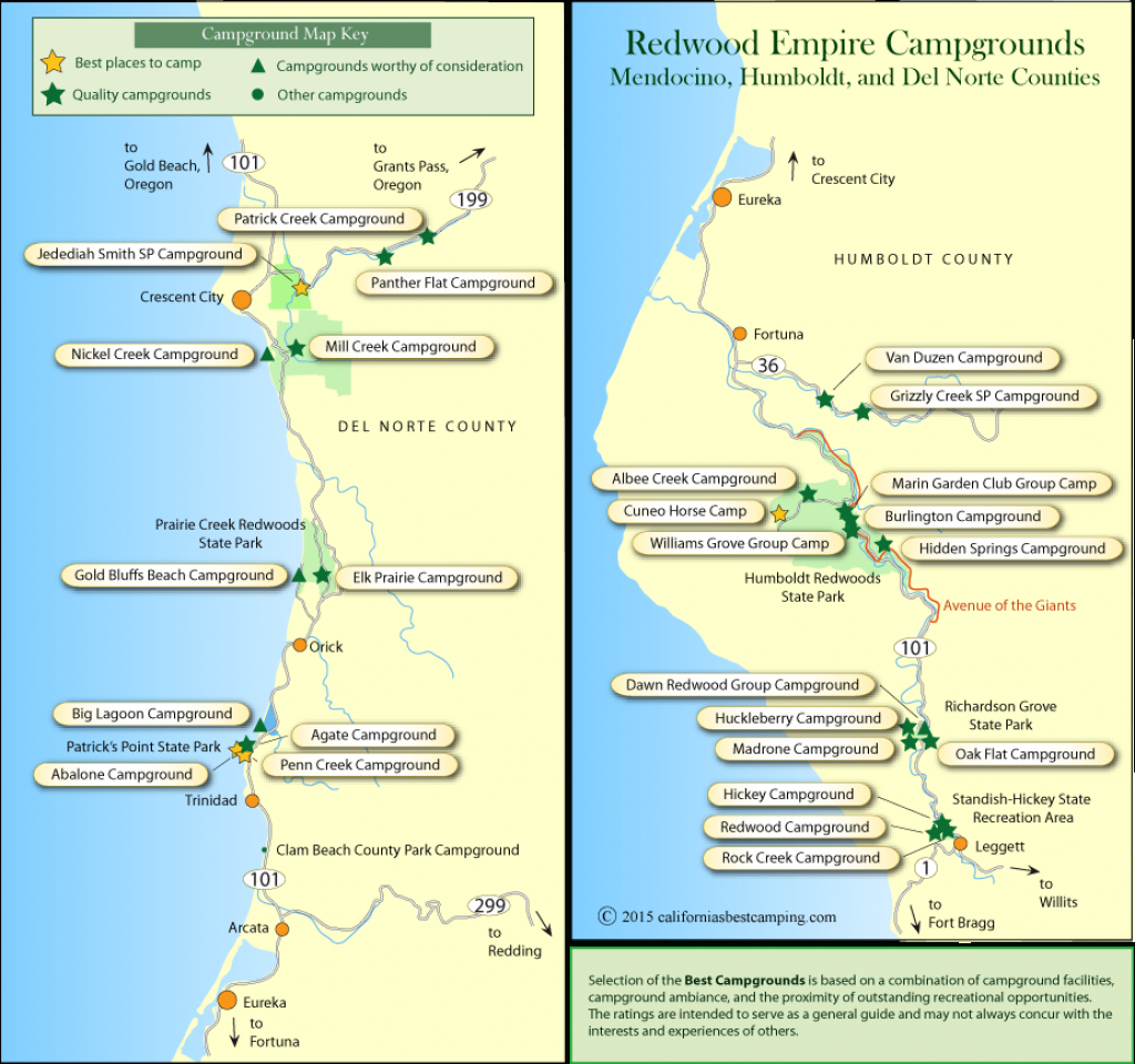 Redwood Empire Campground Maps - California Campgrounds Map