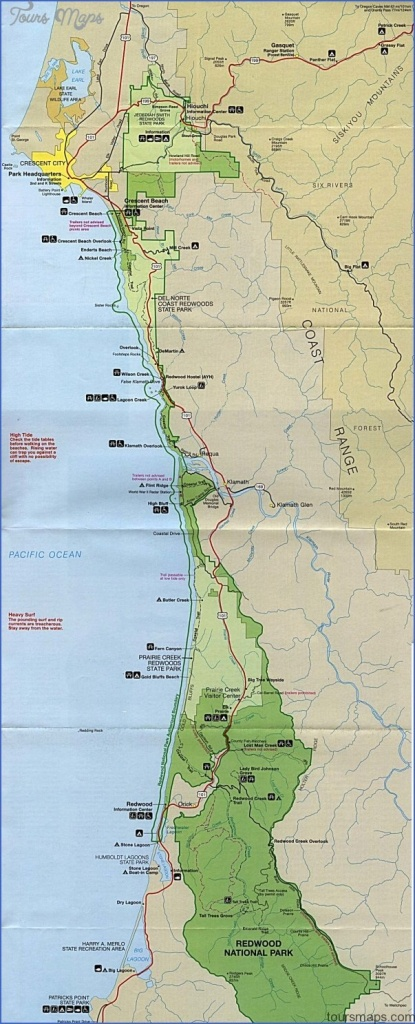 Redwood National Park Map California - Toursmaps ® - California Redwood Parks Map