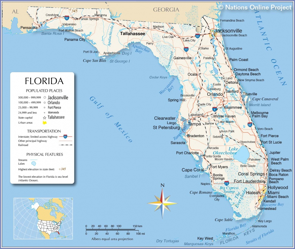 Reference Maps Of Florida, Usa - Nations Online Project - Map Of Florida Keys With Cities