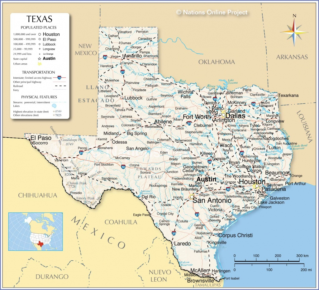 Reference Maps Of Texas, Usa - Nations Online Project - Map Of South Texas Coast