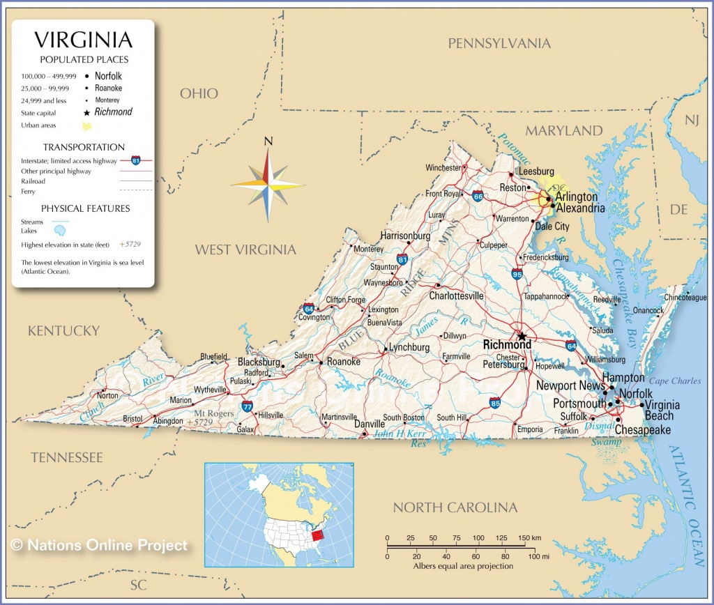 Reference Maps Of Virginia, Usa - Nations Online Project - Printable Map Of Virginia