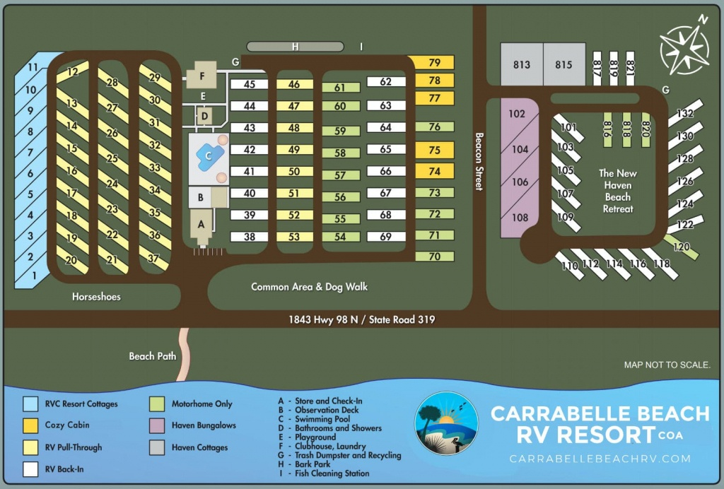 Resort Site Map Of The Carrabelle Beach Rv Resort - Carrabelle, Florida - Carrabelle Island Florida Map