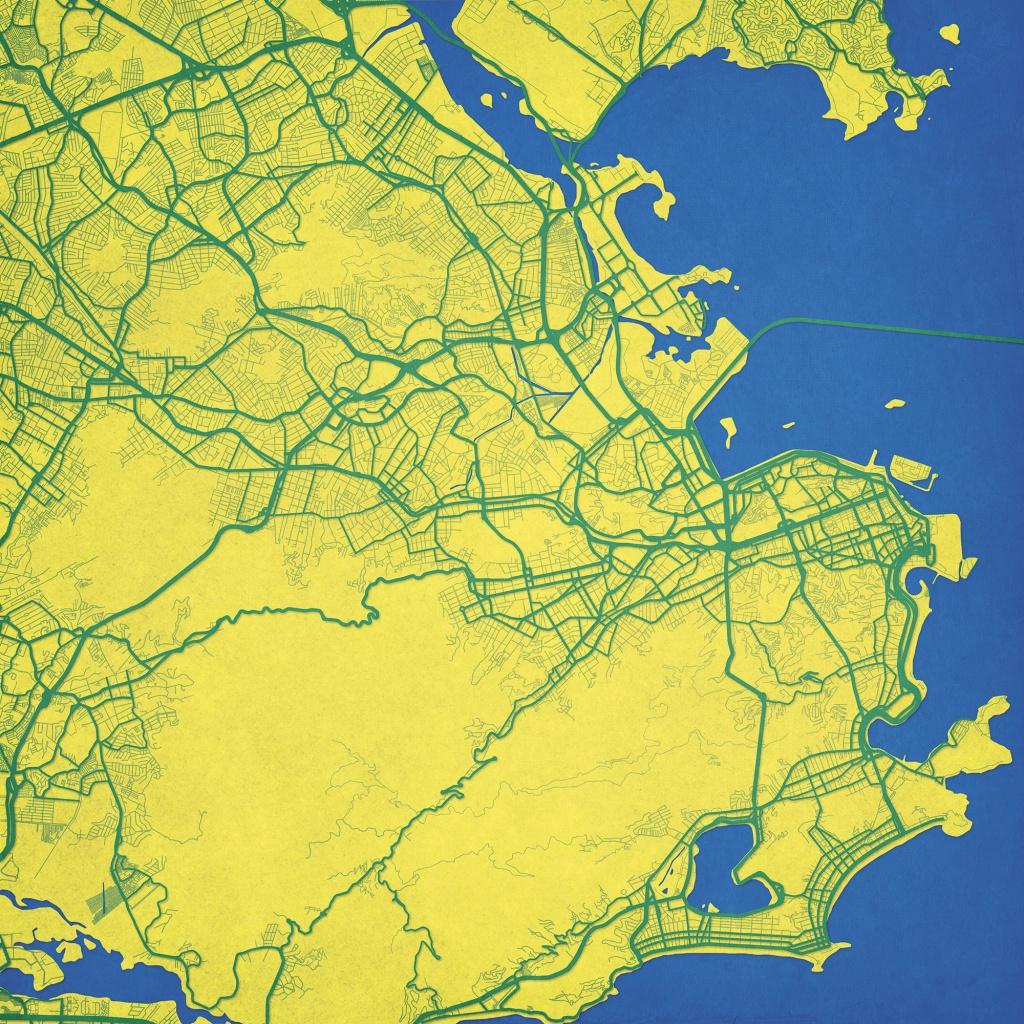 Rio De Janeiro, Brazil Map Art - The Map Shop - Printable Map Of Rio De Janeiro