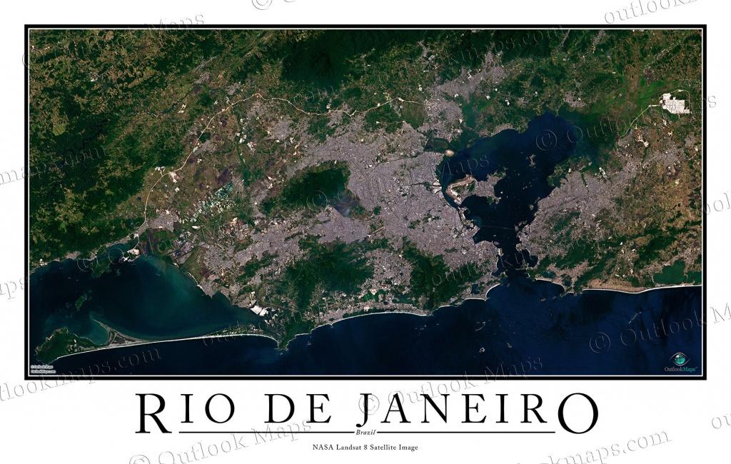 Rio De Janeiro, Brazil Satellite Map Print | Aerial Image Poster - Printable Map Of Rio De Janeiro