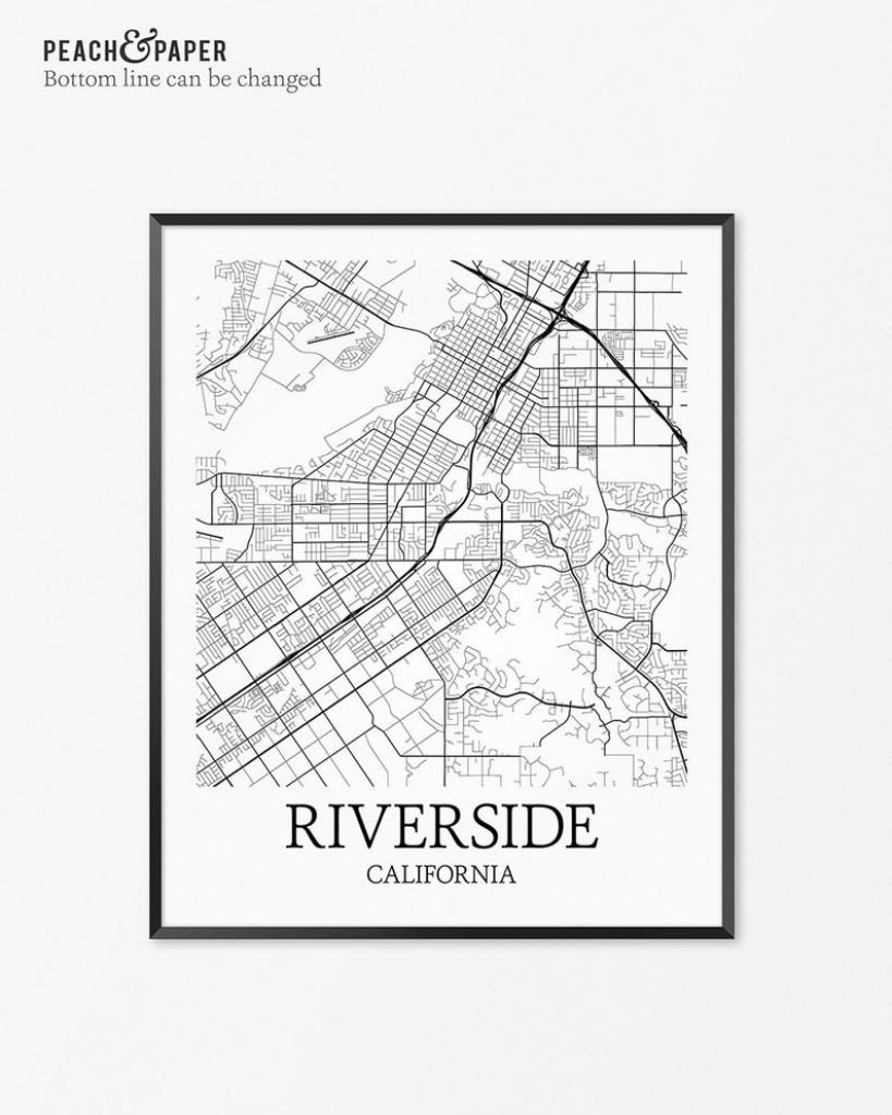 Riverside Map Art Print Riverside Poster Map Of Riverside | Etsy - Printable Map Of Riverside Ca