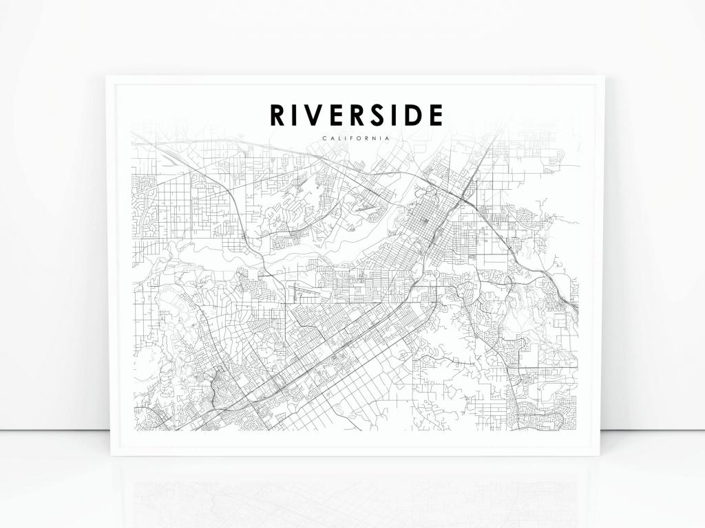 Riverside Map Print California Ca Usa Map Art Poster City | Etsy - Printable Map Of Riverside Ca
