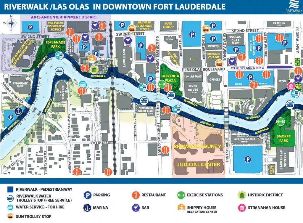 Riverwalk/las Olas In Downtown Fort Lauderdale   Dream Usa Floride - Street Map Of Fort Lauderdale Florida