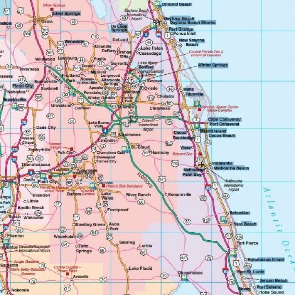 Road Map Florida Central Showing Main Towns Cities And Highways Of - Road Map Of Central Florida