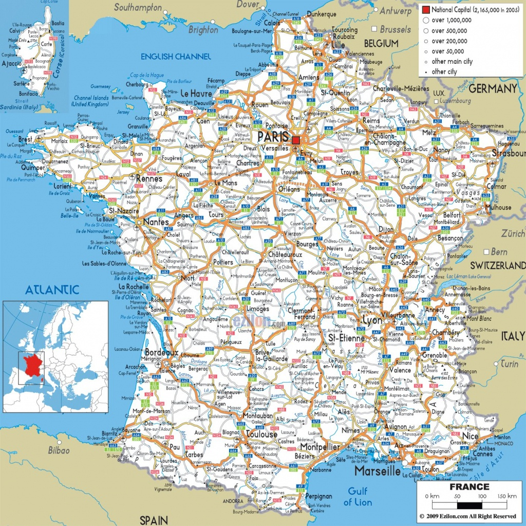 Road Map Of France - Recana Masana - Printable Map Of France With Cities And Towns