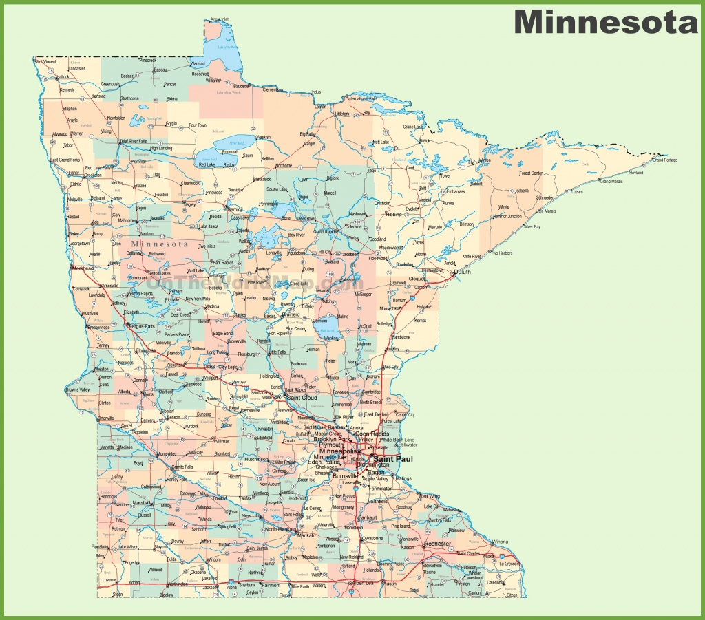 Road Map Of Minnesota With Cities - Printable Map Of Minnesota
