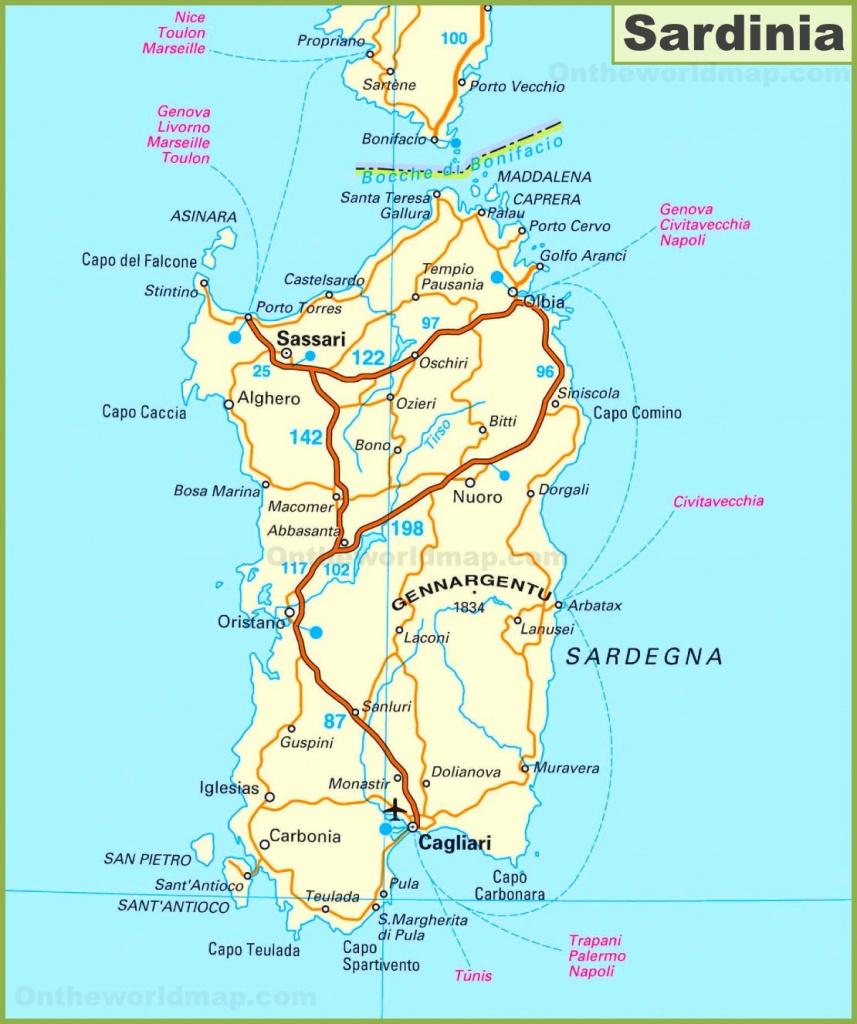 Road Map Of Sardinia - Printable Map Of Sardinia