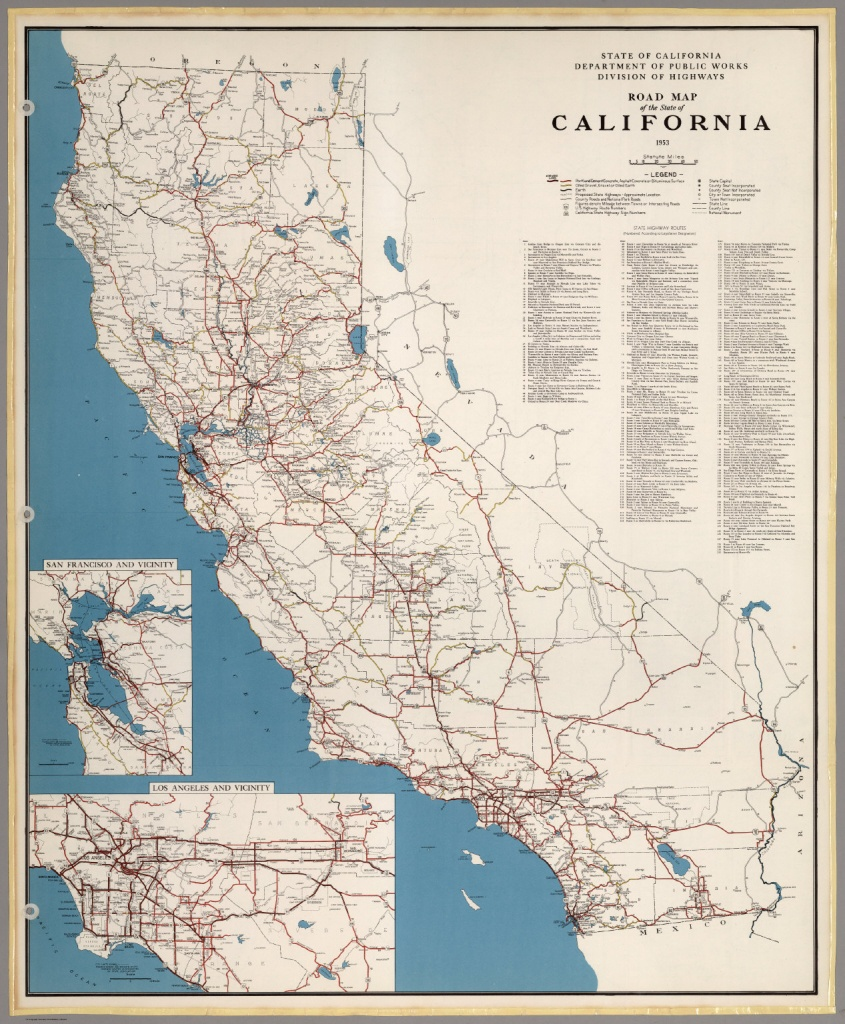 Road Map Of The State Of California, 1953. - David Rumsey Historical - California Atlas Map