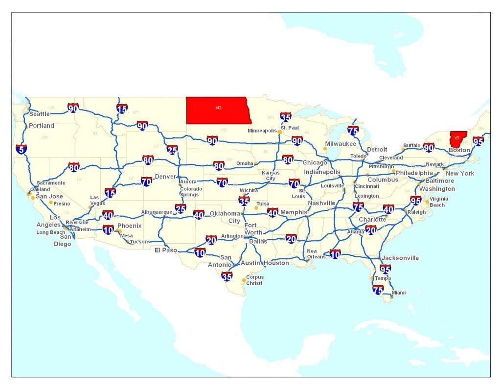 Road Map Of Usa Printable   : Road Map Of Usa - Printable Us Road Map