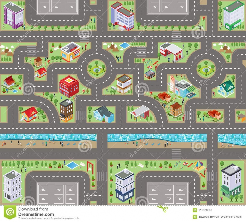 Road Map Top View 3D Stock Illustration. Illustration Of Toys - Printable Road Maps For Kids
