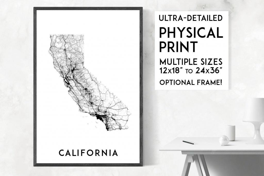 Roads Of California Map Poster California Print California | Etsy - California Map Poster