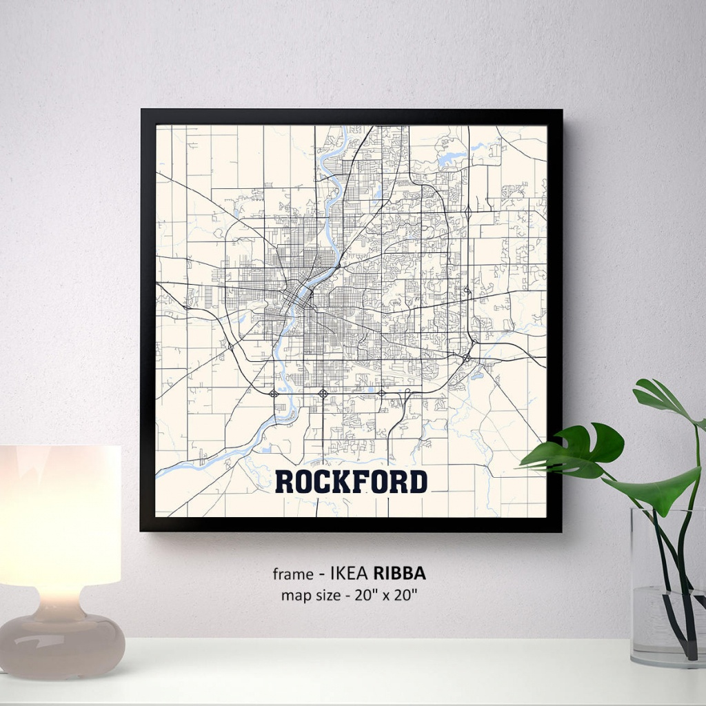 Rockford Illinois Map Print Rockford Square Map Poster | Etsy - Printable Map Of Rockford Il