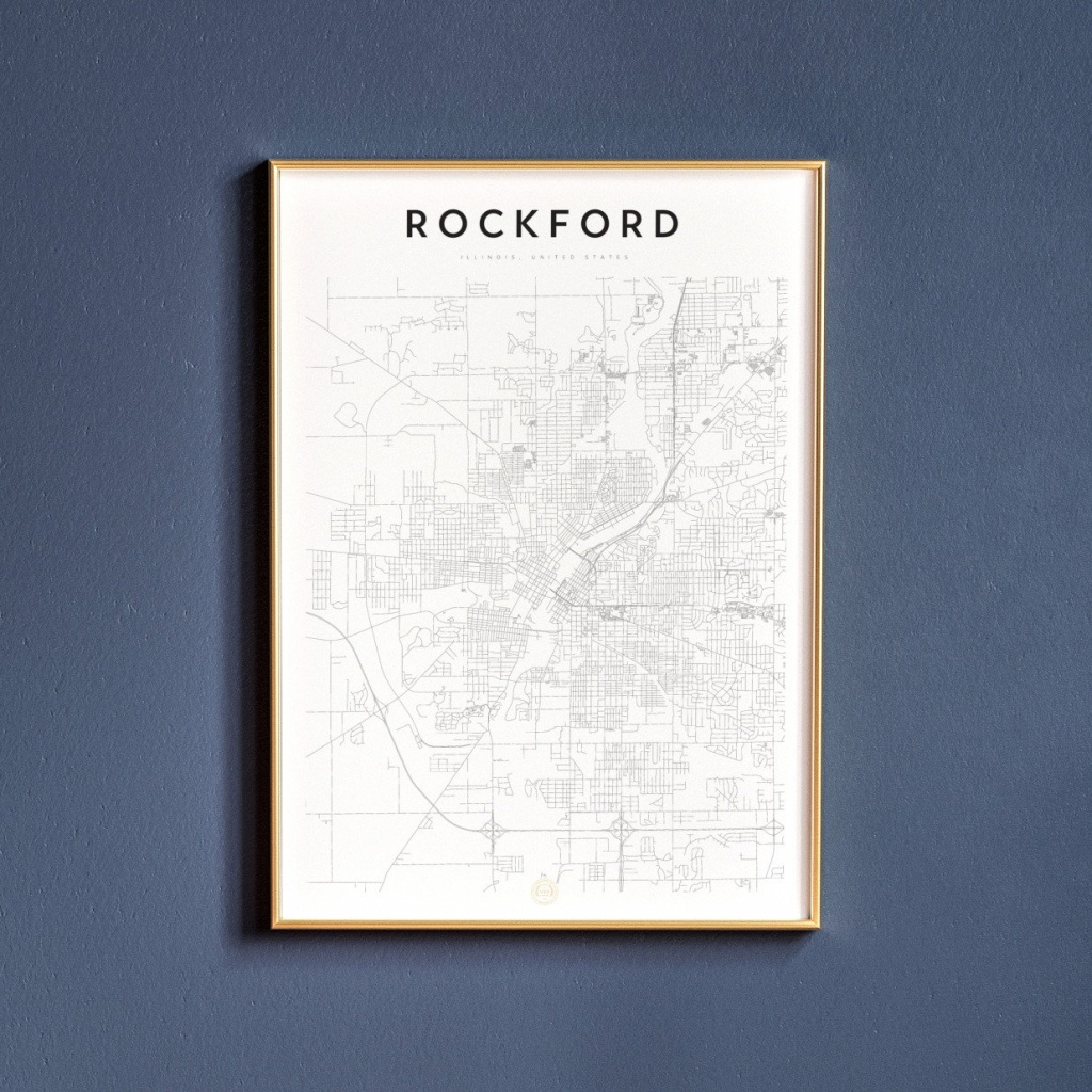 Rockford Map Print Map Wall Art Art Print Map Print | Etsy - Printable Map Of Rockford Il