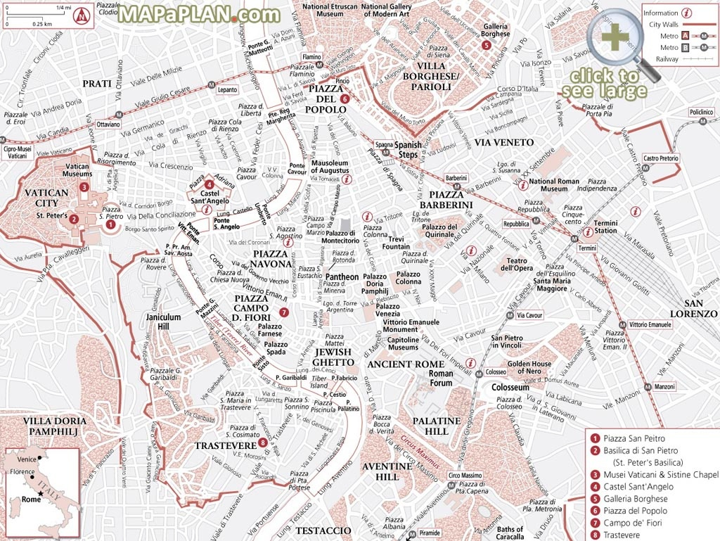 Rome Maps - Top Tourist Attractions - Free, Printable City Street Map - Street Map Of Rome Italy Printable