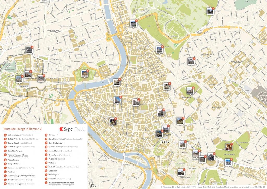 Rome Printable Tourist Map | Sygic Travel - Street Map Of Rome Printable