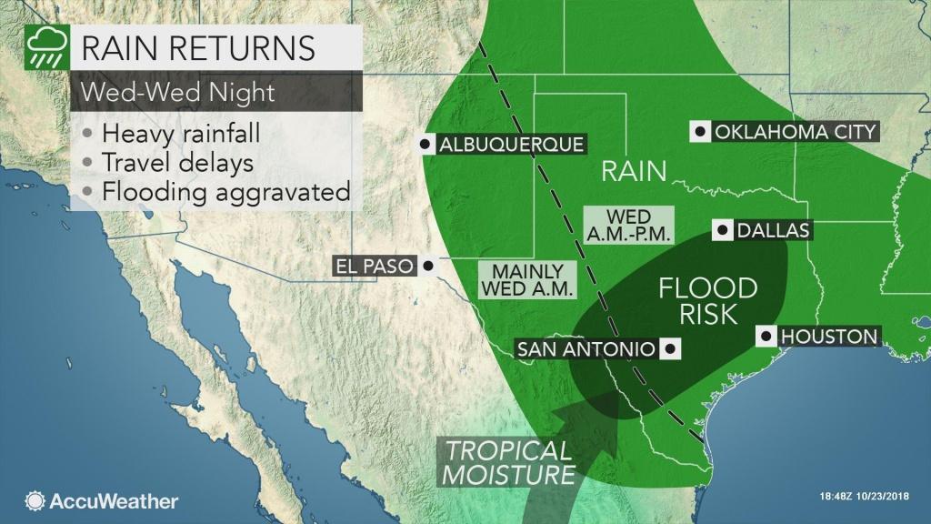 Rounds Of Heavy Rain To Threaten Flooding Across Texas At Midweek - Texas Flood Map