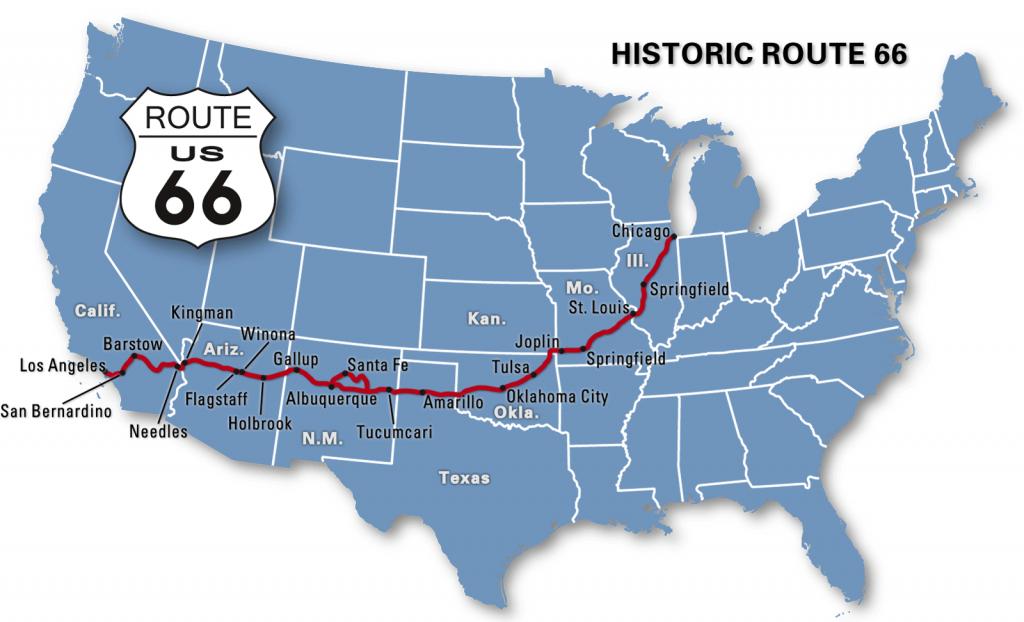 Route 66, Road Trip À Moto - Itinéraire D'un Voyage Sur La Route 66 - Historic Route 66 California Map