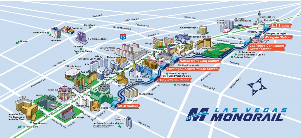 Route Map | Las Vegas Monorail - Las Vegas Strip Map 2016 Printable
